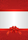 Background white red with ribbons and bow Royalty Free Stock Photos