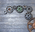 Background Wood Cogs Royalty Free Stock Photo
