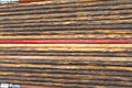 Background of wooden chopsticks and patterned brown line Stock Photo