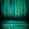 Background wooden panel boards green from wall with a sheaf of light Stock Images