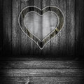 Background wooden panel boards grey the window in the shape of a heart on a wall Stock Images