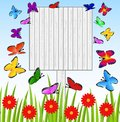 Background  with a wooden table, butterflies and red flowers Royalty Free Stock Photo