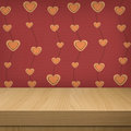 Background with wooden table and wallpaper with heart shape valentine s day ready for product montage display Stock Photography