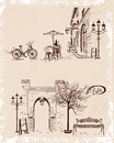 Backgrounds decorated with old town views and street cafes Royalty Free Stock Photo