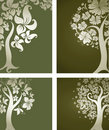Backgrounds with decorative tree from flowers Royalty Free Stock Photos