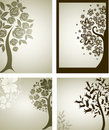 Backgrounds with decorative tree from flowers Royalty Free Stock Images