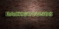 BACKGROUNDS - fluorescent Neon tube Sign on brickwork - Front view - 3D rendered royalty free stock picture