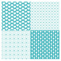 Backgrounds Seamless geometric set pattern with hearts Vector blue
