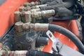 Backhoe Hydraulic Hoses Stock Photography