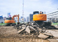 Backhoe Loader digger work at building construction site outdoor Royalty Free Stock Photo
