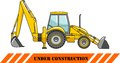 Backhoe loader. Heavy construction machine. Vector