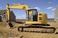 Backhoe a type of heavy duty construction equipment used in excavation Stock Image