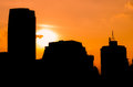 Backlight of a building city in beautiful sunset Royalty Free Stock Photo