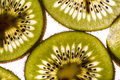 Backlit kiwi slices inside texture Royalty Free Stock Images