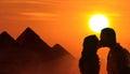 Backlit loving couple honeymoon in Egypt Royalty Free Stock Photo