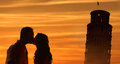 Backlit loving couple honeymoon in Italy Royalty Free Stock Photo