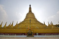 Backlit of main giant stupa of Shwemawdaw Pagoda surrounded with smaller stupas