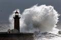 Backlit stormy wave