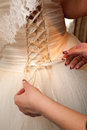 Backof a dress back of wedding with artificial flowers Royalty Free Stock Image