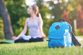 Backpack and bottle of water in the grass Royalty Free Stock Photo