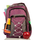 Backpack with school supplies on white background Stock Photos