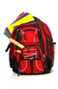 Backpack with supplies Royalty Free Stock Photos