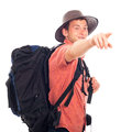 Backpacker pointing the way Stock Photos