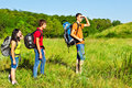 Backpackers hiking Royalty Free Stock Photo