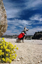 Backpacking dog red heeler cattle with red backpack against summer sky Royalty Free Stock Photography