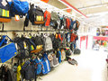 Backpacks or rucksacks store display. Royalty Free Stock Images