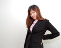 Backpain of female business, concept of office syndrome with spi Royalty Free Stock Photo