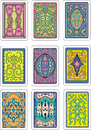 Backs of playing cards set original color vector designs Stock Photo