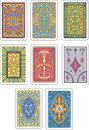 Backs of playing cards set original color vector designs Stock Photography