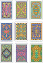 Backs of playing cards set original color vector designs Royalty Free Stock Image