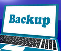 Backup laptop shows archiving back up and storage showing Royalty Free Stock Images