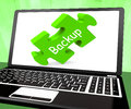 Backup laptop shows data archiving back up and storage showing Royalty Free Stock Images