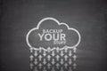 Backup your stuff on blackboard black with cloud Stock Photos