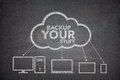 Backup your stuff concept on black background Stock Photo