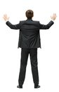 Backview of businessman with hands up full length isolated on white concept leadership and success Stock Photos