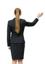Backview of female manager waving hand business woman her isolated on white concept leadership and success Royalty Free Stock Images