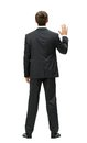 Backview of manager waving hand full length businessman isolated on white concept leadership and success Royalty Free Stock Photography