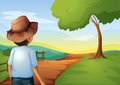 A backview of a young farmer illustration Royalty Free Stock Image