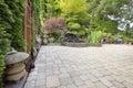 Backyard Asian Inspired Paver Patio Garden Royalty Free Stock Photo