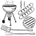 Backyard barbecue equipment sketch Stock Photos