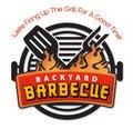 Backyard BBQ Barbecue invitation logo art vector Royalty Free Stock Photo