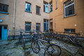 Backyard in berlin filthy with several bikes bike stands Stock Photography