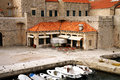 Backyard in croatia dubrovnik square with cozy restaurants after season famous old town fortress on the adriatic Royalty Free Stock Images