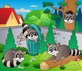 Backyard with cute racoons Royalty Free Stock Photo