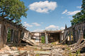 Backyard of demolished house under skies Royalty Free Stock Images