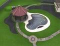 Backyard design ideas aerial, 3d render
